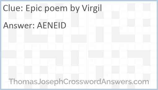 Epic poem by Virgil Answer
