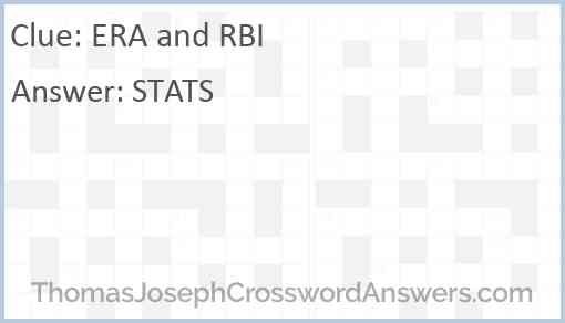 ERA and RBI Answer