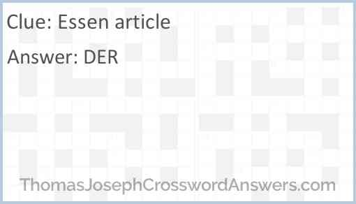 Essen article Answer