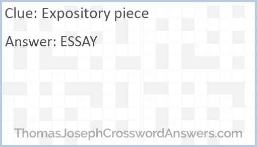 Expository piece Answer