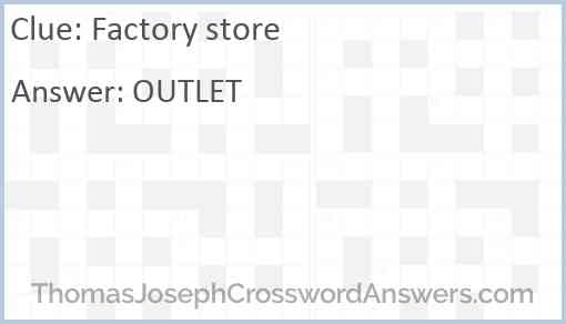 Factory store Answer