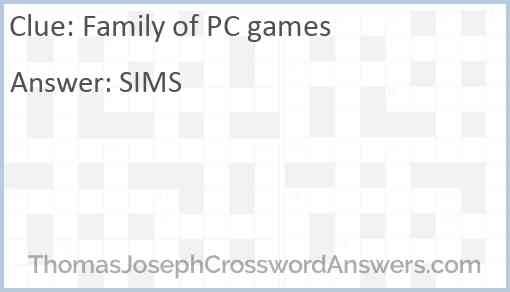 Family of PC games Answer