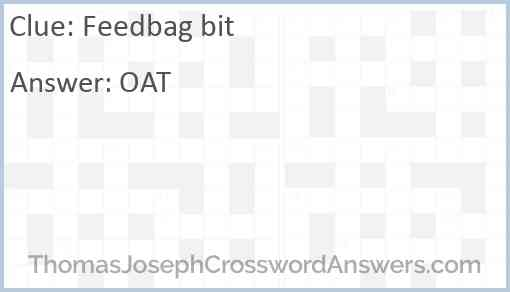 Feedbag bit Answer
