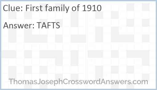 First family of 1910 Answer