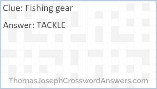 Fishing gear Answer