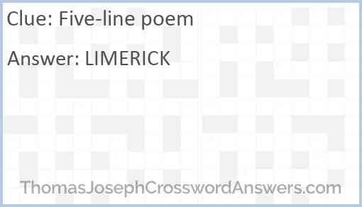 Five-line poem Answer