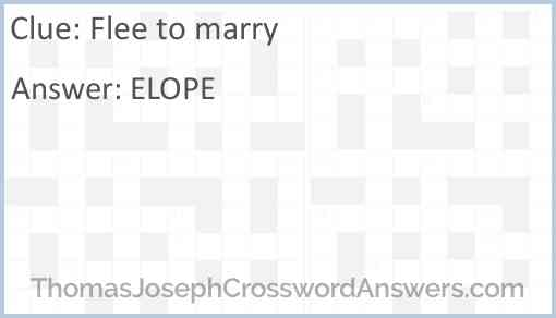 Flee to marry Answer