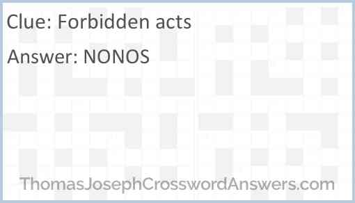 Forbidden acts Answer