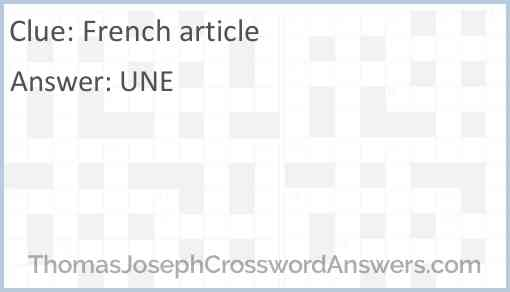 French article Answer