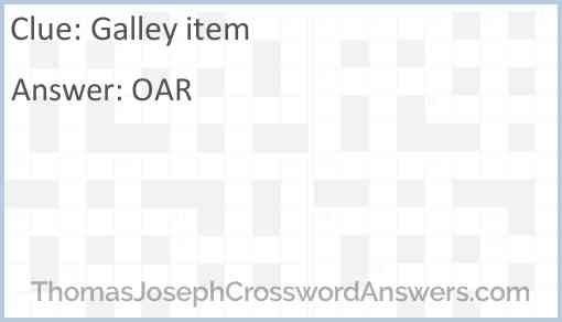 Galley item Answer