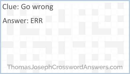 Go wrong Answer