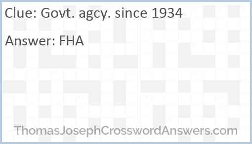 Govt. agcy. since 1934 Answer