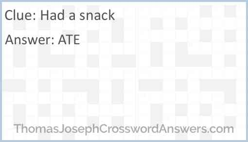 Had a snack Answer