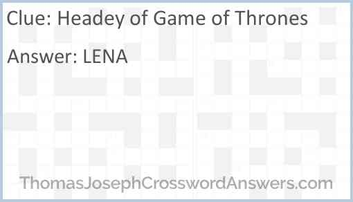 Headey of Game of Thrones Answer