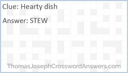 Hearty dish Answer