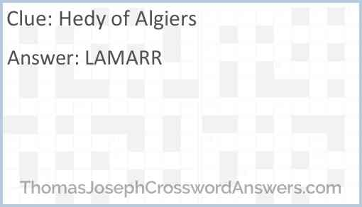 Hedy of Algiers Answer