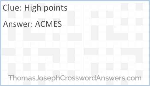 High points Answer