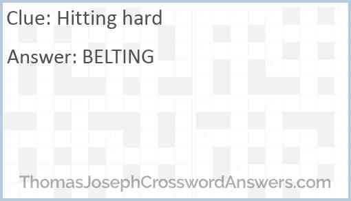 Hitting Hard Crossword Clue Thomasjosephcrosswordanswers Com
