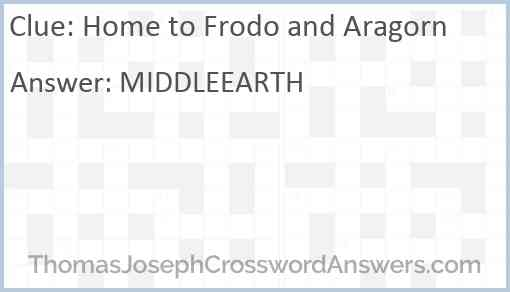 Home to Frodo and Aragorn Answer