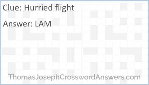 Hurried Flight Crossword Clue Thomasjosephcrosswordanswers Com