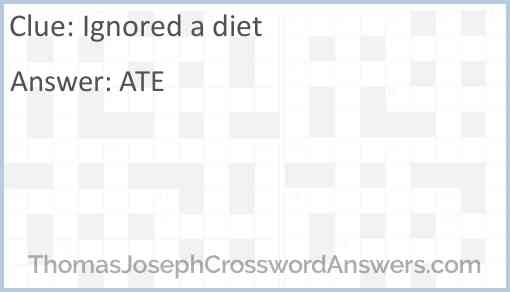 Ignored a diet Answer