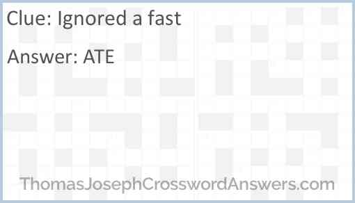 Ignored a fast Answer
