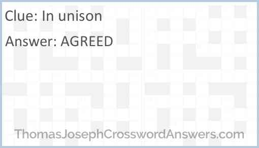 In unison Answer