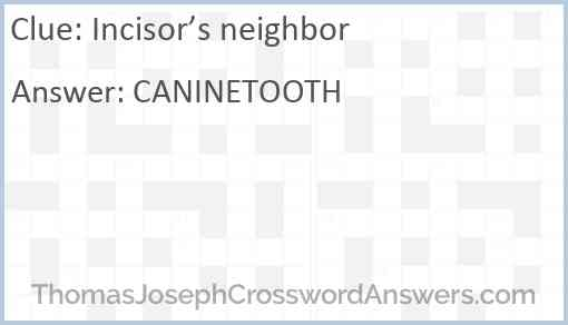 Incisor's neighbor Answer