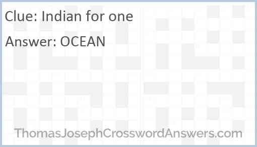 Indian for one Answer
