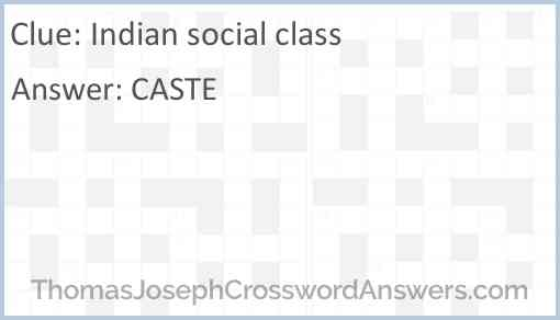 Indian social class Answer