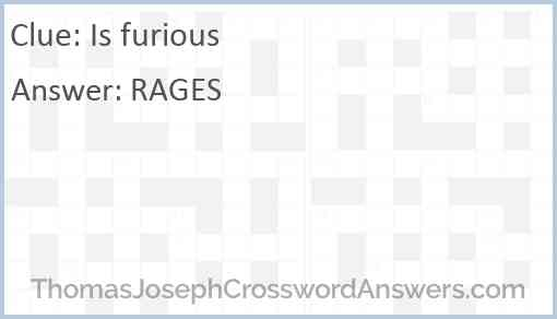 Is furious Answer