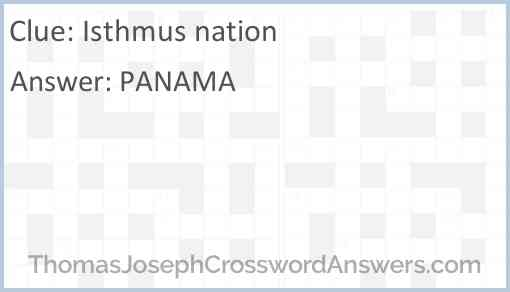 Isthmus nation Answer