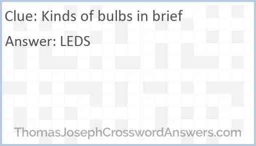 Kinds of bulbs in brief Answer