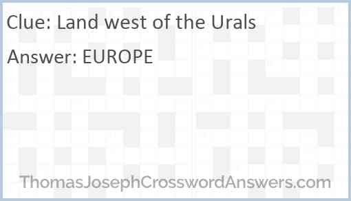 Land west of the Urals Answer