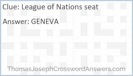 League of Nations seat Answer