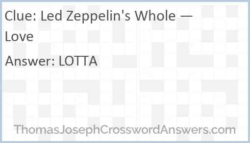 Led Zeppelin's Whole — Love Answer