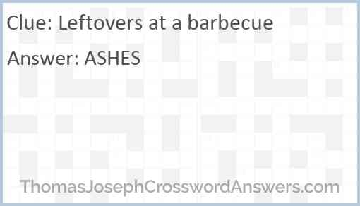 Leftovers at a barbecue Answer