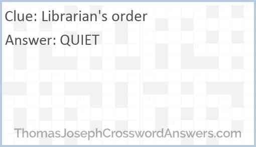 Librarian's order Answer