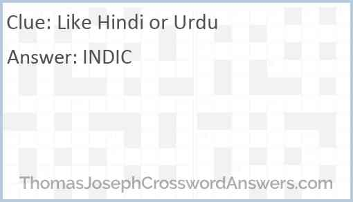 Like Hindi or Urdu Answer