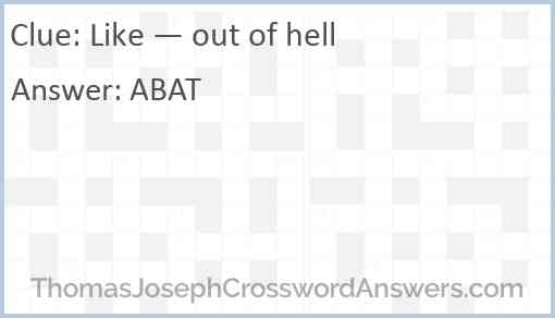 Like — out of hell Answer