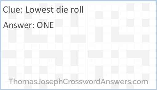 Lowest die roll Answer