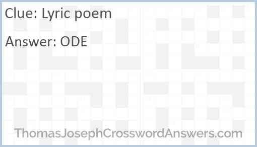 Lyric poem Answer