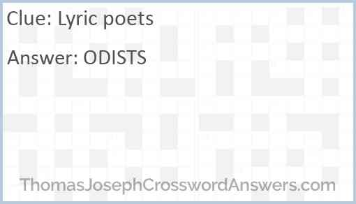 Lyric poets Answer