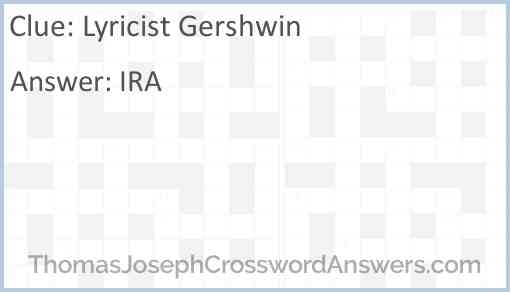 Lyricist Gershwin Answer