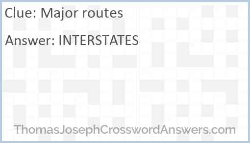 Major routes Answer