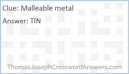 Malleable metal Answer