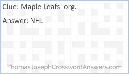 Maple Leafs' org. Answer