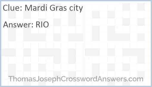 Mardi Gras city Answer