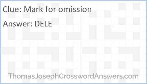 Mark for omission Answer