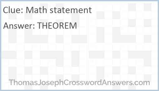 Math statement Answer